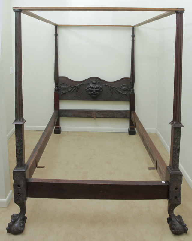 George III Style Chippendale Carved Mahogany Four-Poster Bedstead