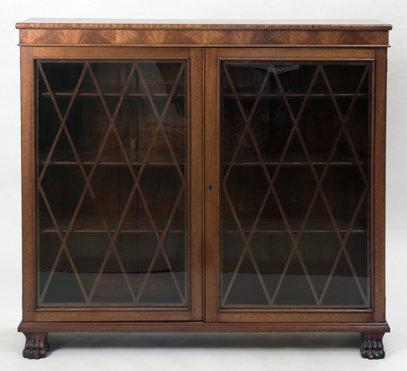 George III Style Carved Mahogany Bookcase