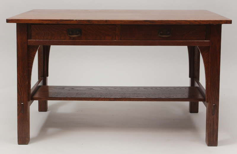 Arts and Crafts Oak Two-Drawer Writing Table