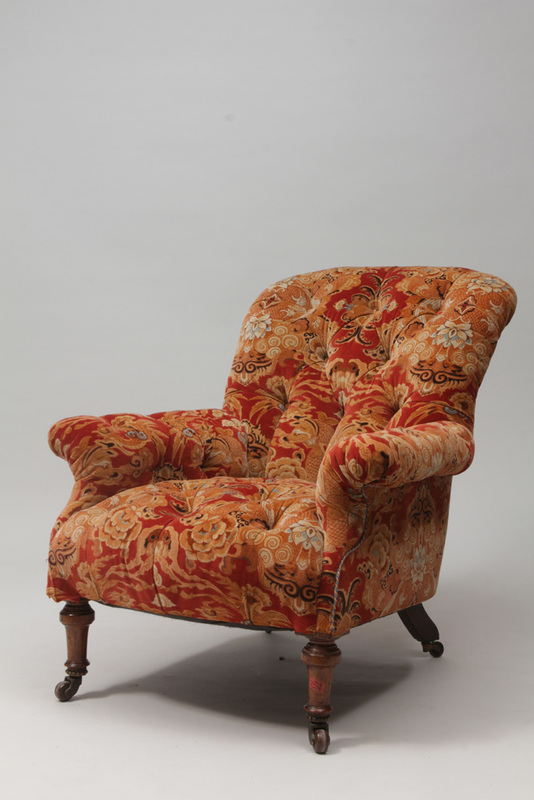 Victorian Mahogany Tufted Upholstered Club Chair
