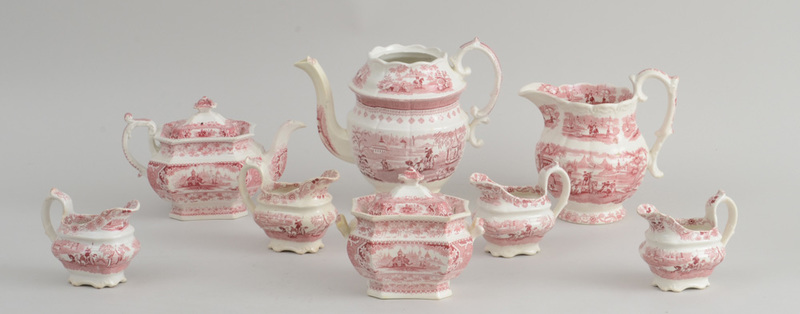 GROUP OF EIGHT STAFFORDSHIRE RED TRANSFER-PRINTED ARTICLES
