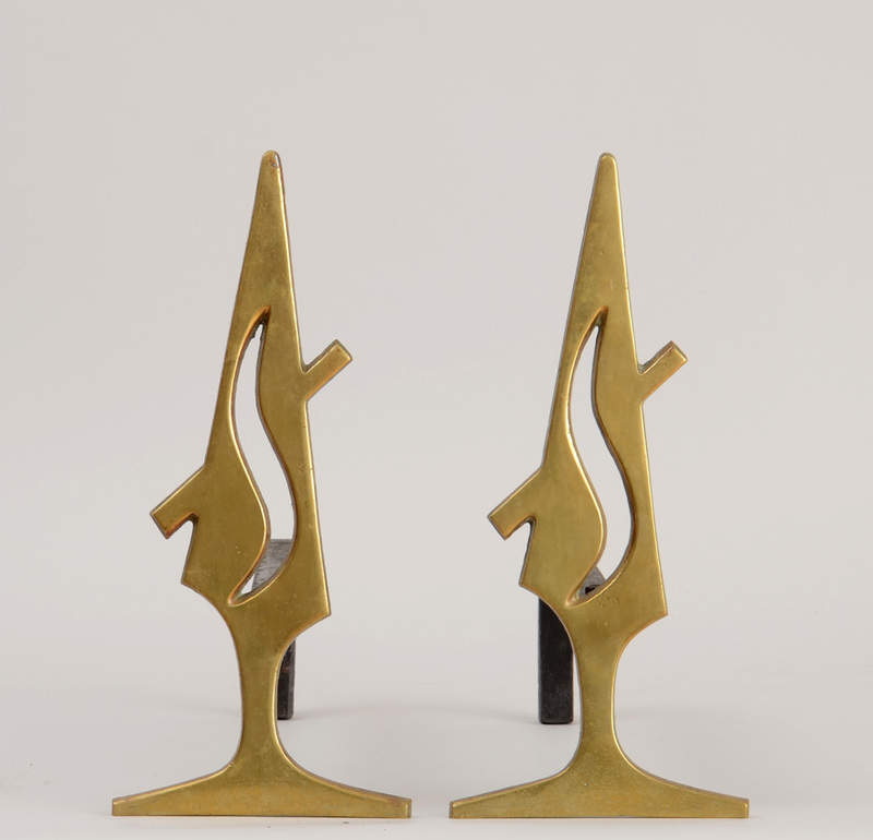 PAIR OF BRASS AND WROUGHT IRON FLAME ANDIRONS, SIGNED BY R. FATALOT