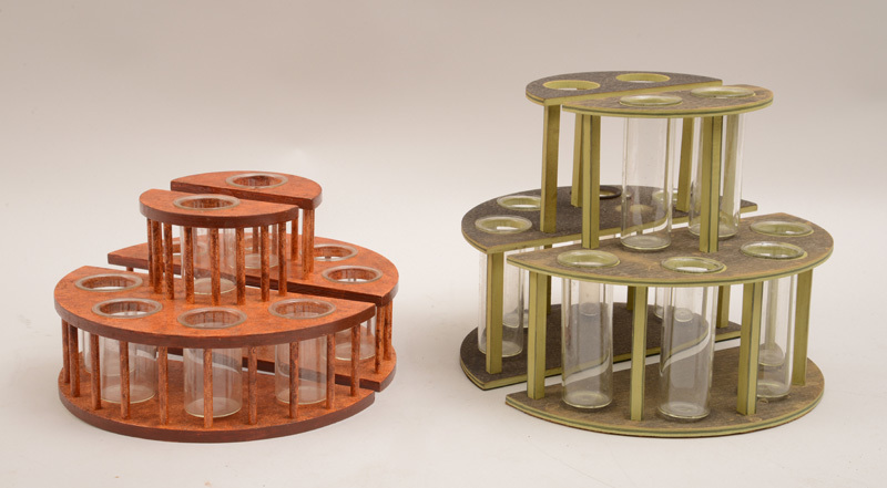 Two Pairs of Wood D-Shape Two-Tier Flower Holders with Glass Inserts