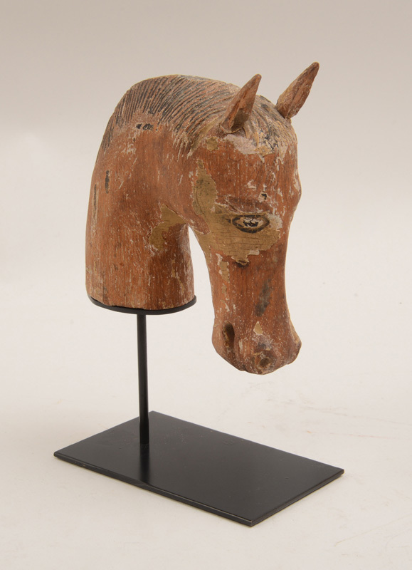 Carved Wood Head of a Horse with Traces of Polychrome Decoration