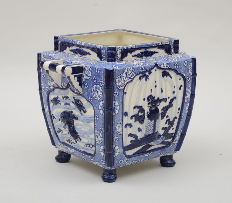 Christopher Dresser: Minton Blue and White Japanesque Glazed Porcelain Jardinière