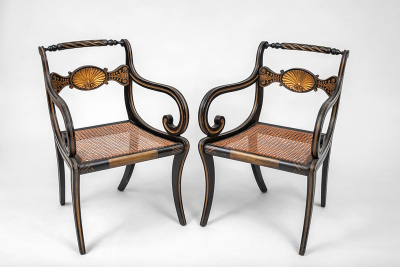Pair of Regency Style Black Painted and Parcel-Gilt Armchairs