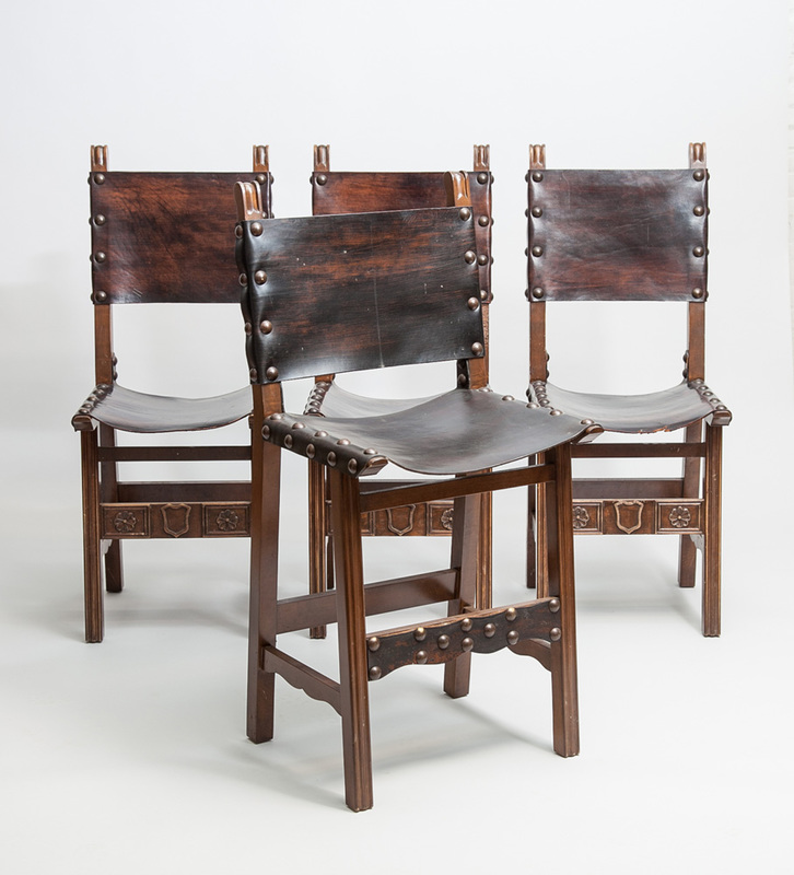 Four Spanish Baroque Style Stained Wood Leather Side Chairs, 20th Century