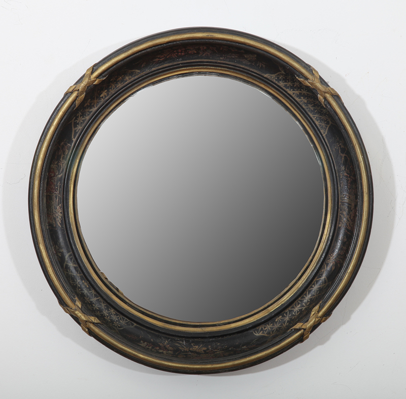 Regency Style Ebonized and Parcel-Gilt Convex Mirror