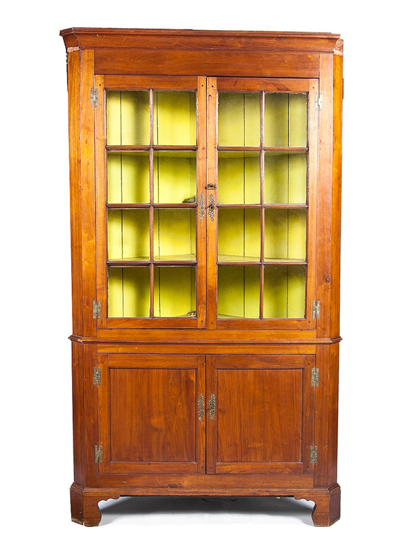 Federal Stained Fruitwood Corner Cupboard