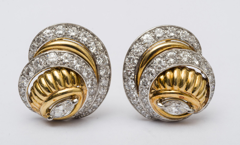 PAIR OF 18K YELLOW GOLD AND PLATINUM SWIRL EARRINGS