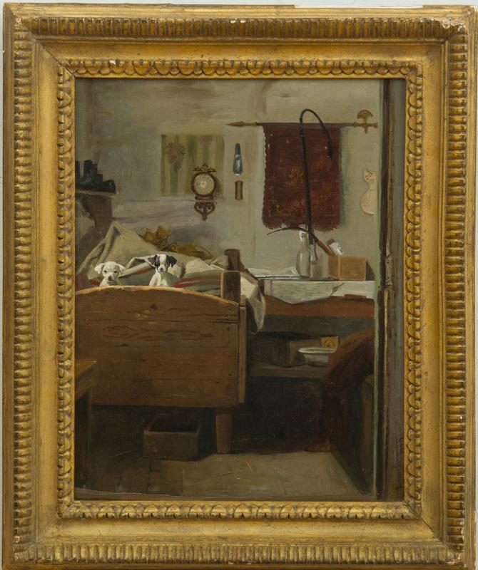 SIMON SIMONSEN (1841-1928): TWO PUPPIES ON THE BED