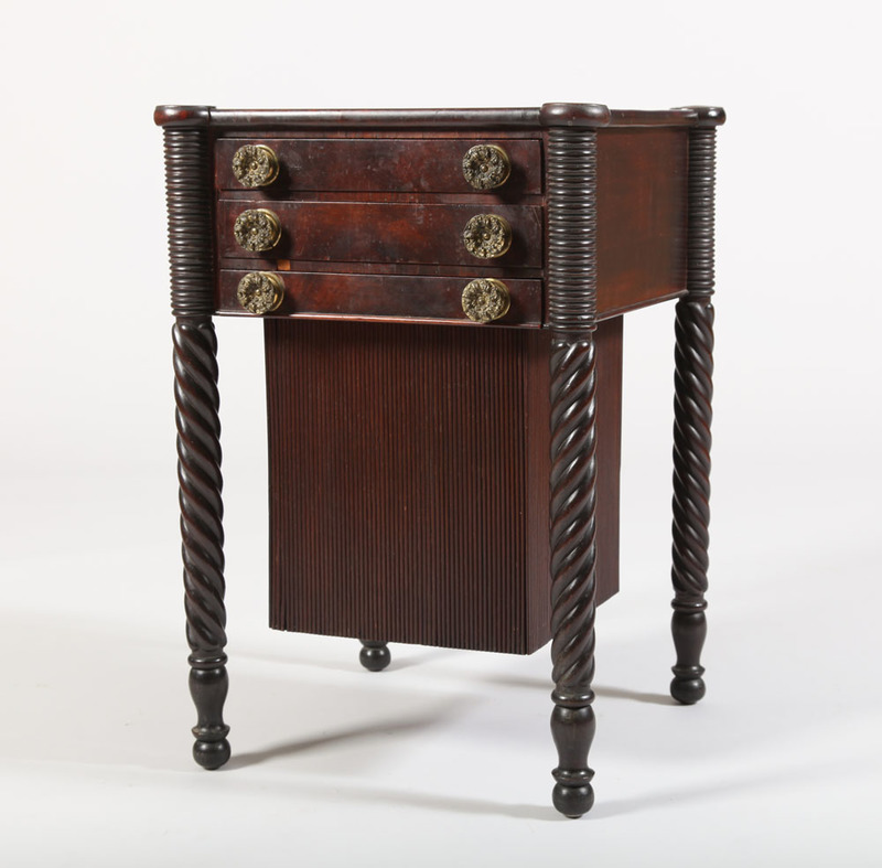 FEDERAL CARVED MAHOGANY WORK TABLE, NEW ENGLAND