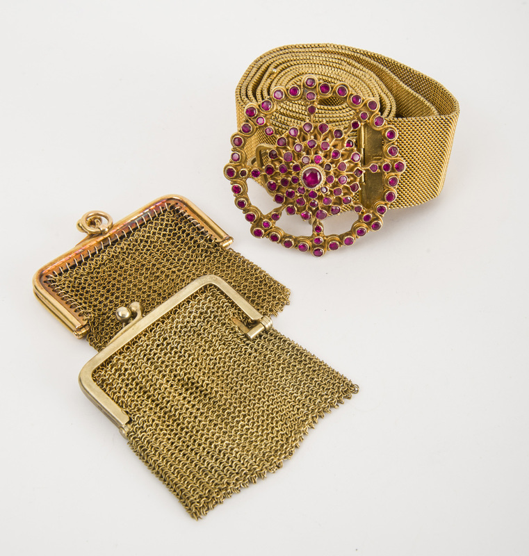 Gilt-Metal and Red Glass Belt