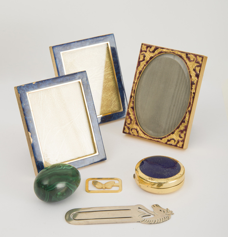 Three Metal and Enamel Picture Frames