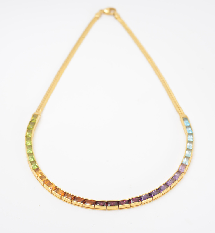 18K GOLD AND COLORED STONE NECKLACE