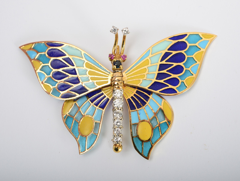 Gold, Enamel, Diamond, Ruby and Sapphire Brooch