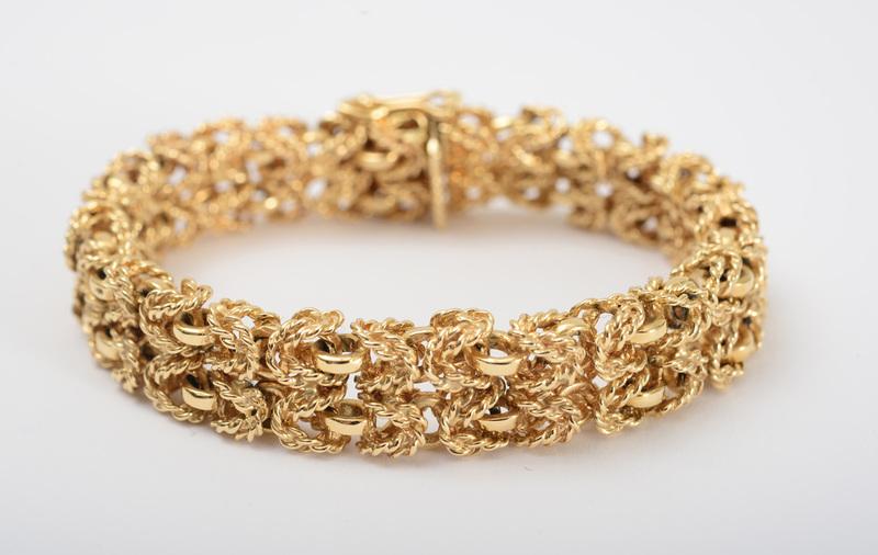 14K GOLD WOVEN TEXTURED BRACELET