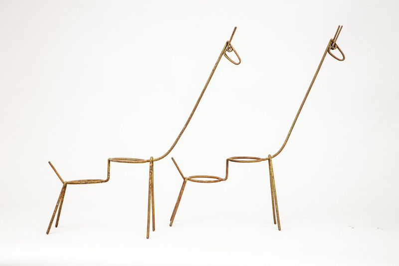 Pair of Giraffe-Form Planters, French, Mid-20th Century