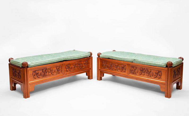 Pair of Chinese Mahogany Benches