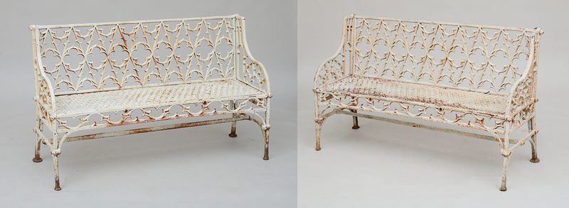 PAIR OF WHITE PAINTED CAST-IRON GARDEN SETTEES