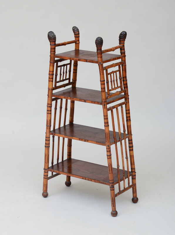 BAMBOO AND OAK FOUR-TIERED ÉTAGÈRE