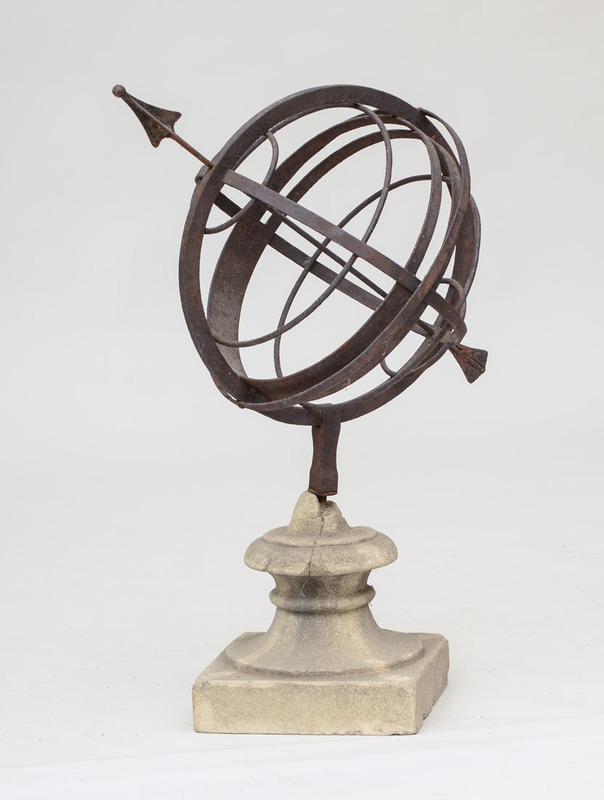 WROUGHT IRON AND COMPOSITION ARMILLARY SPHERE