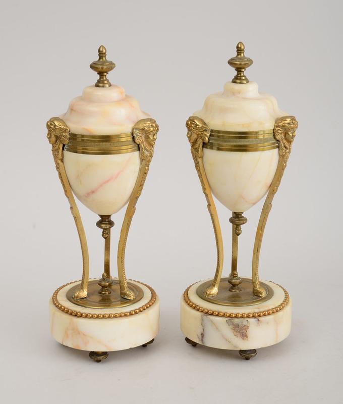 Pair of Louis XVI Style Gilt-Metal-Mounted Cassolettes