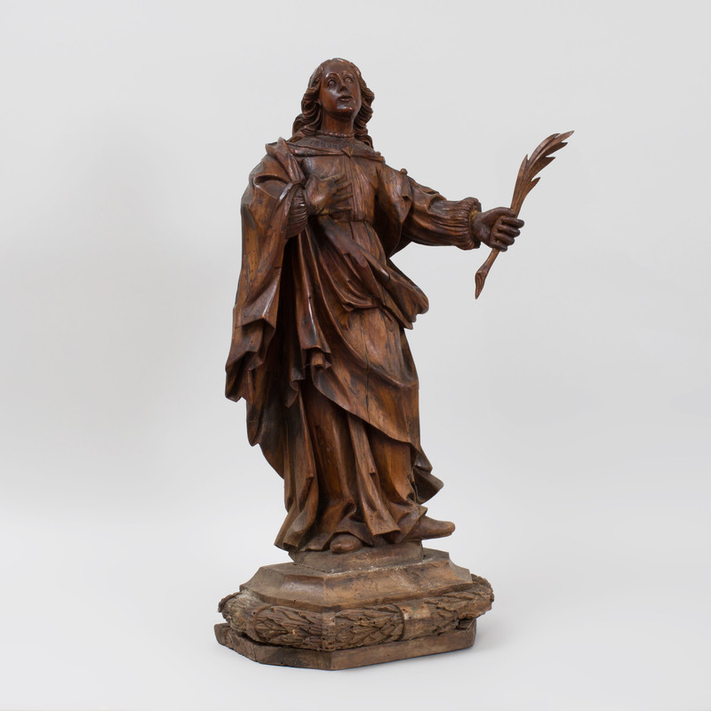 Spanish Baroque Carved Wood Figure of a Martyr Holding Palm Frond