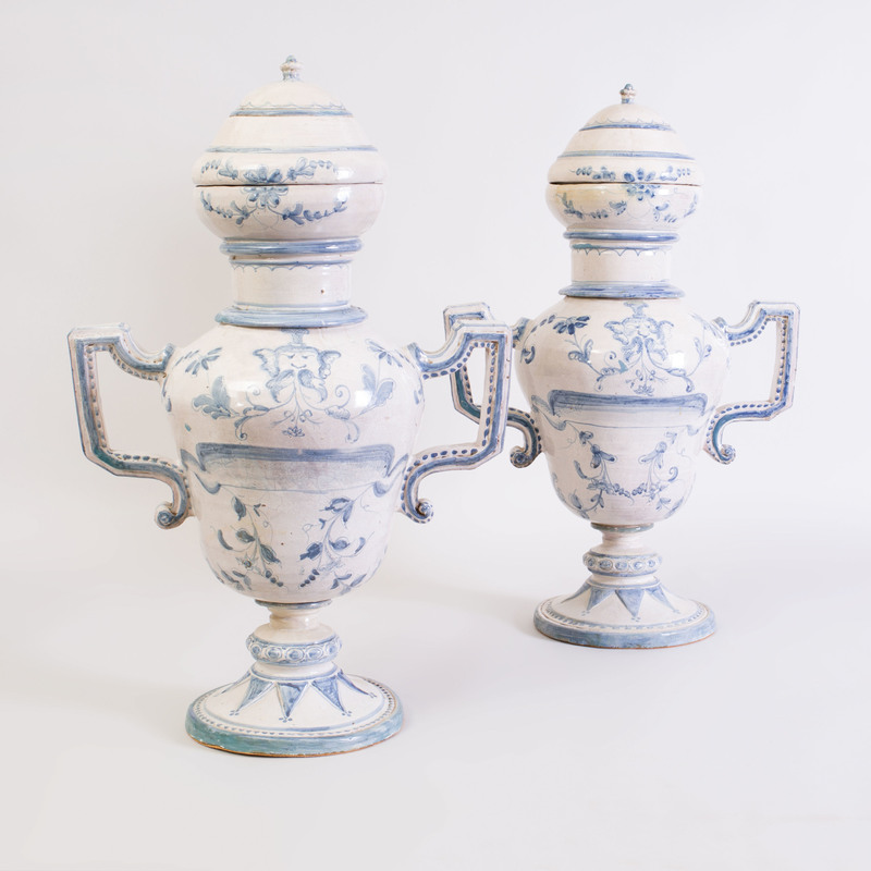 Pair of Italian Glazed Pottery Jars, Collars and Covers