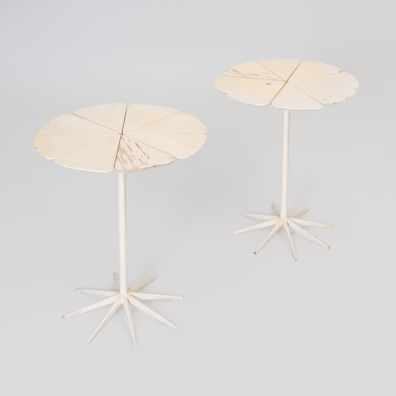 Pair of Richard Schultz Painted Wood and Metal 'Petal' Tables, for Knoll