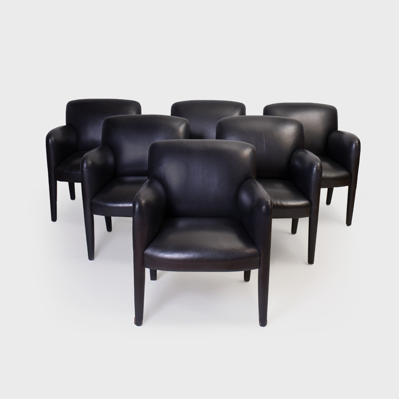 Set of Six Donghia Leather Upholstered Arm Chairs