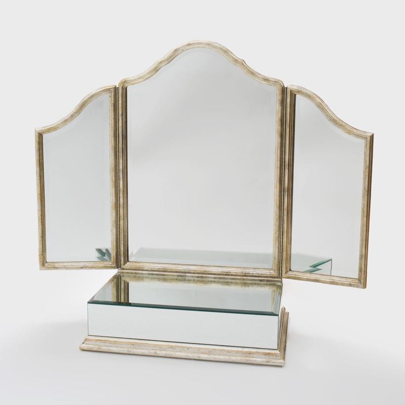 Hollywood Regency Style Silvered Giltwood Folding Dressing Mirror