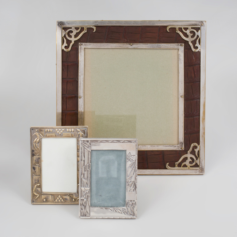 Group of Three Silvered Metal Picture Frames