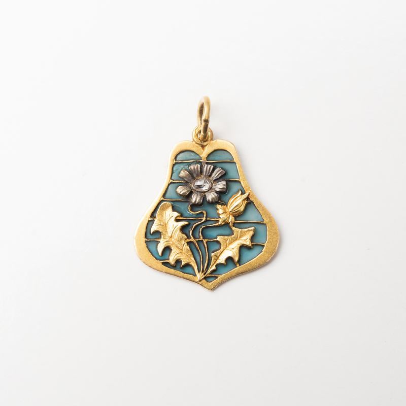 Art Nouveau 14k Gold and Plique-à-Jour Enamel Pendant