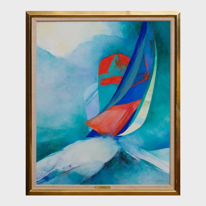 Claude Gaveau (b. 1940): Sailboats