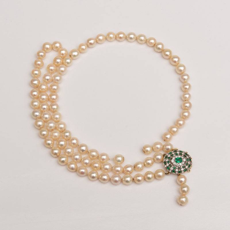 Double Strand Cultured Pearl Necklace with Diamond and Emerald Clasp