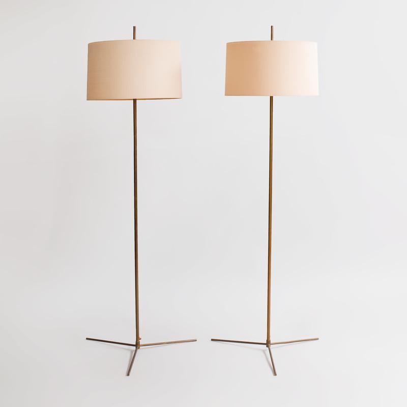 Pair Svend Aage Holm Sørensen Brass Floor Lamps