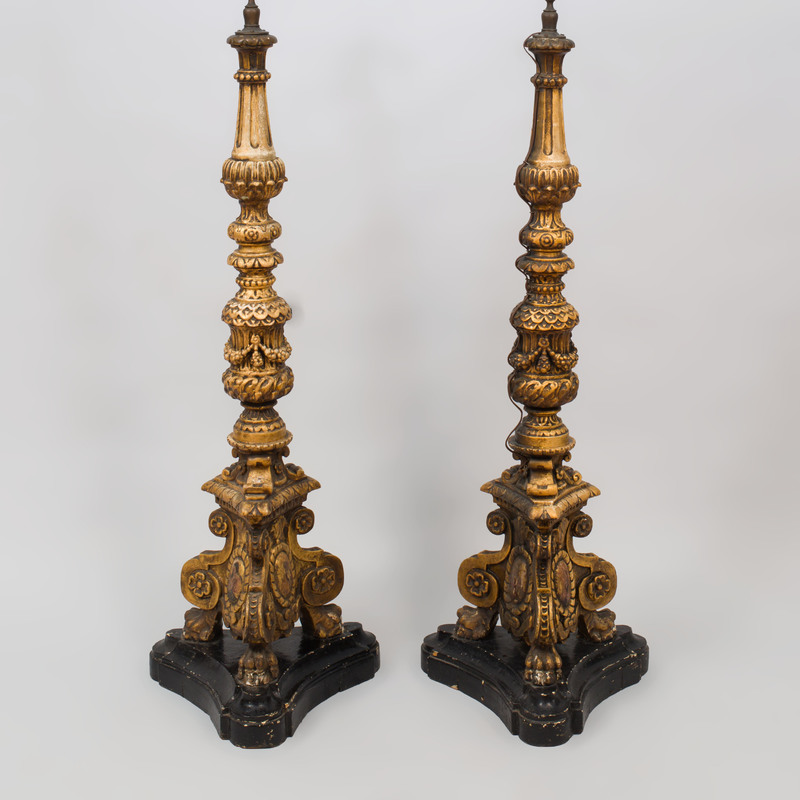 Pair of Baroque Style Carved Giltwood Floor Lamps