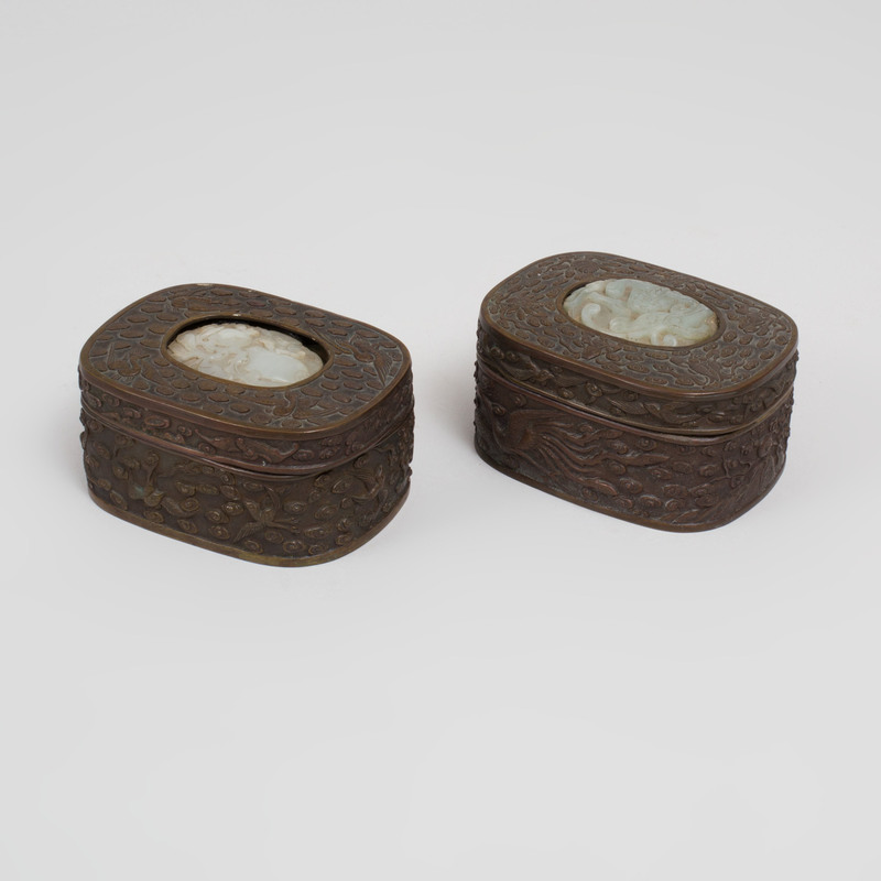 Two Chinese Jade-Mounted Patinated-Metal Boxes and Covers