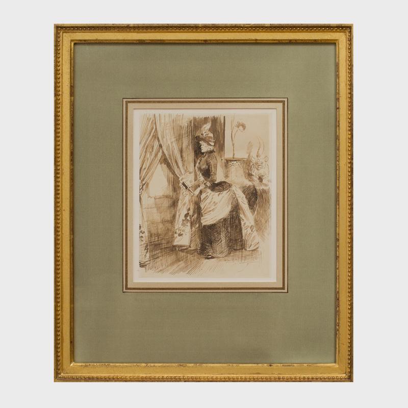 Henry Somm (1844 - 1907): Femme à la Fenêtre