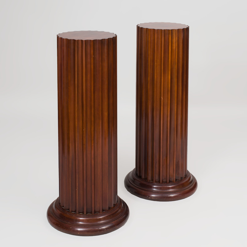 Pair of George III Style Mahogany Fluted Columns