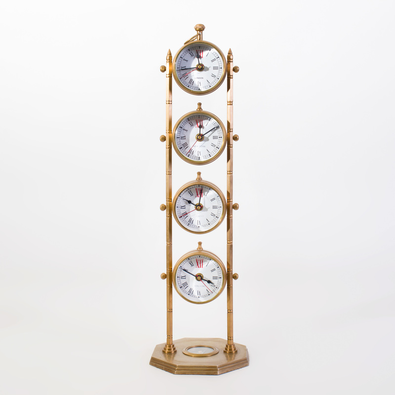 Edwardian Brass Time Piece with Four Time Zones