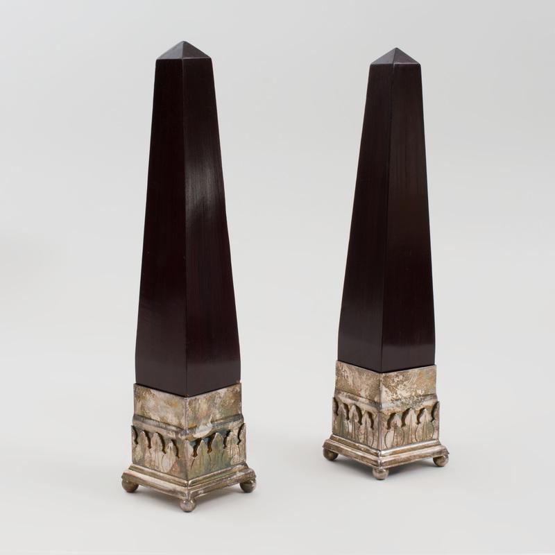 Pair of Wood Obelisks With Silver Metal Bases