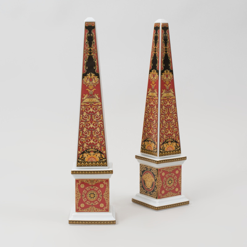 Pair of Versace Transfer Printed Porcelain Obelisks in the 'Medusa' Pattern, for Rosenthal