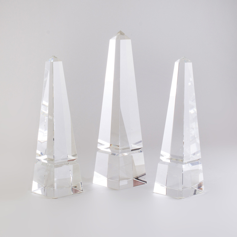 Group of Three Glass Obelisks