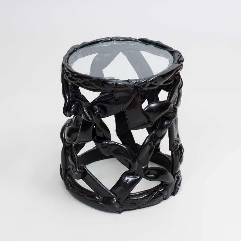Black Resin 'Ribbon' Stool, in the Manner of Tony Duquette