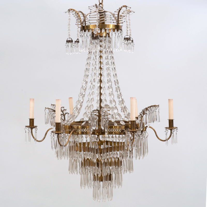 Continental Neoclassical Brass-Mounted and Cut Glass Six Light Chandelier