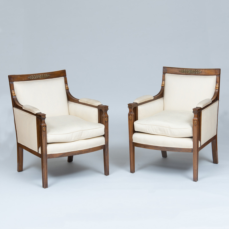 Pair of Empire Style Gilt-Metal-Mounted Mahogany and Parcel-Gilt Bergères