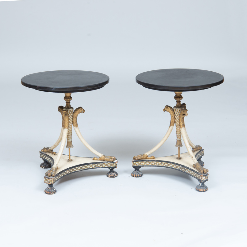 A Pair of Continental Neoclassical Style Painted and Parcel-Gilt Side Tables