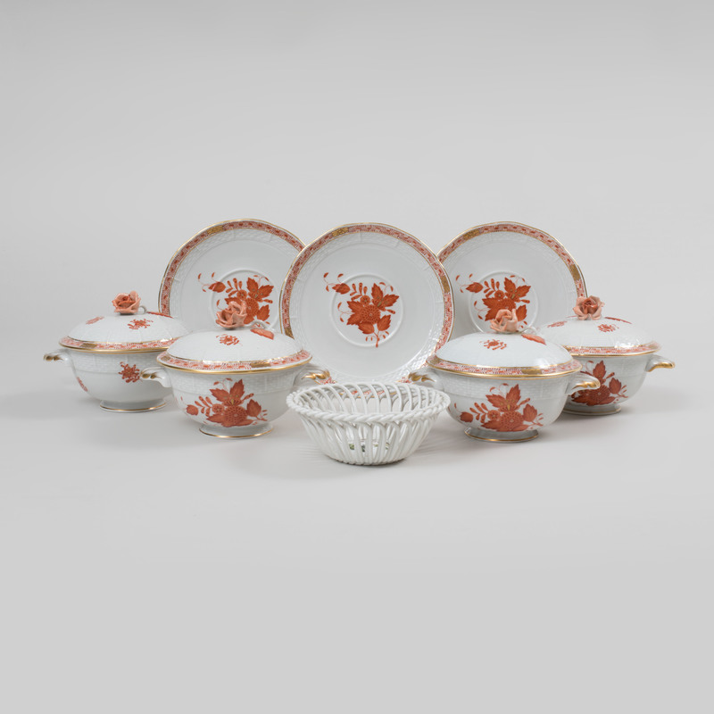 Set of Eleven Herend Porcelain Broth Cups, Covers and